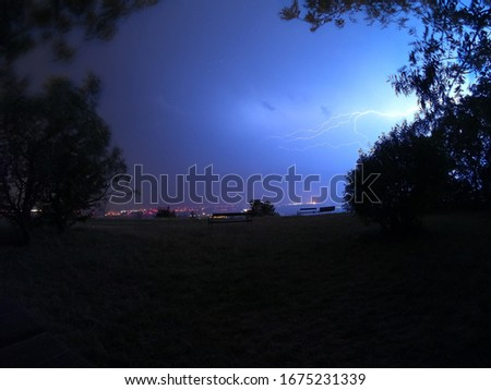 pictures of lightnings on a summer night