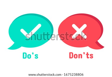 Do and Dont icons. Speech bubble checklist element, yes and no dialogue cloud box. Accept or reject symbol  icon. Choice options. Right and wrong symbols. Correct and incorrect decision