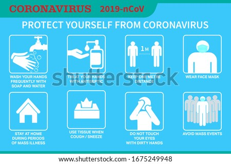 Coronavirus preventive signs. Basic protective measures against the new coronavirus. Coronavirus advice for the public via icons. Important information and guidance to stay healthy from Covid-19. #1675249948