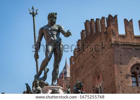 Famous Fontana del Nettuno (Neptune Fountain) at Piazza del Nettuno in Bologna, Italy