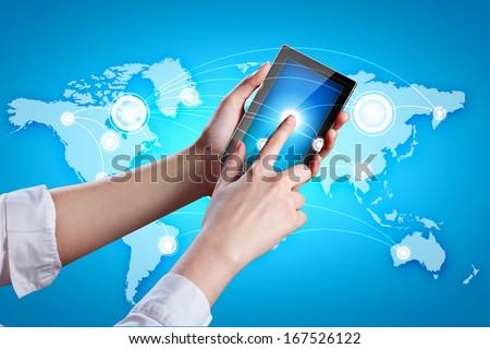 Closeup image of human hands holding ipad