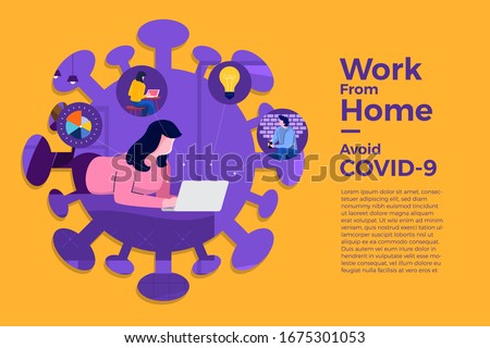Illustrations concept coronavirus COVID-19. The company allows employees to work from home to avoid viruses. Vector illustrate. #1675301053