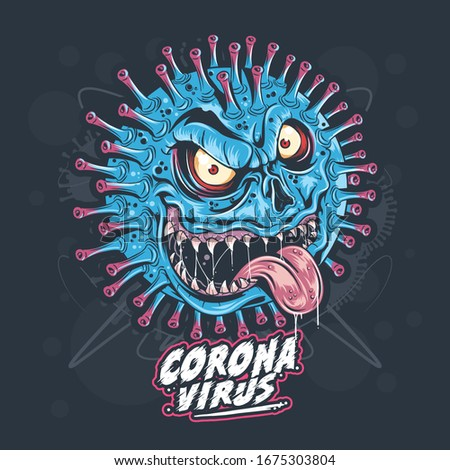 CORONA VIRUS MONSTER ARTWORK  VECTOR