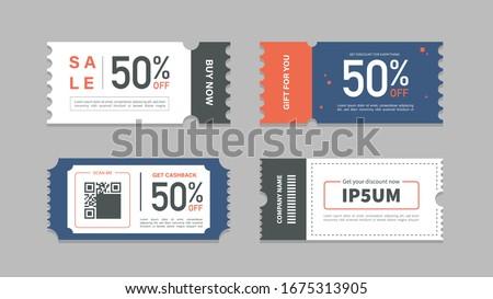 Set of coupon promotion sale for website, internet ads, social media or coupon. Big sale and super sale coupon discount. Coupon discount with vector illustration #1675313905