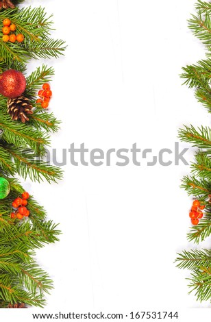 Christmas background with balls and decorations isolated on white background #167531744