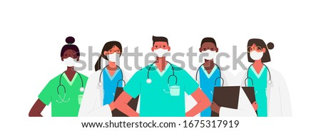 Coronavirus 2019-nCoV. Set of doctors characters in white medical face mask. Stop Coronavirus concept. Medical team doctor nurse therapist surgeon professional hospital workers, group of medics. #1675317919