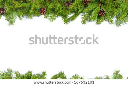 Christmas background with cones isolated on white #167532101
