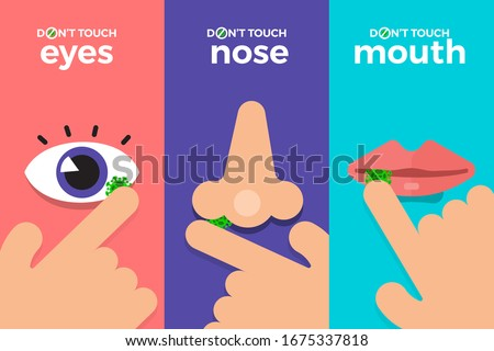 Illustrations concept coronavirus COVID-19. Do not touch hands, eyes, nose, mouth. Vector illustrate. #1675337818