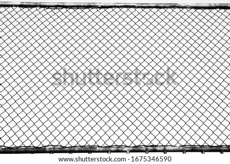 Fence on a blue sky with cloud, Mesh fence with partly cloudy sky, Chain link fence and a blue sky, fence and Blue sky background beyond.  #1675346590