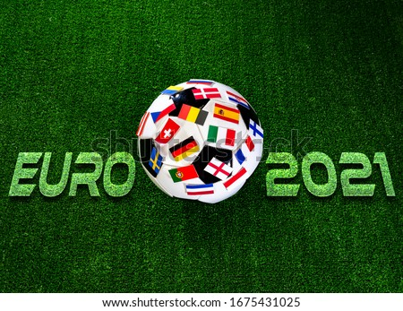 Euro 2021 football championship. Soccer ball with flags of European countries Royalty-Free Stock Photo #1675431025