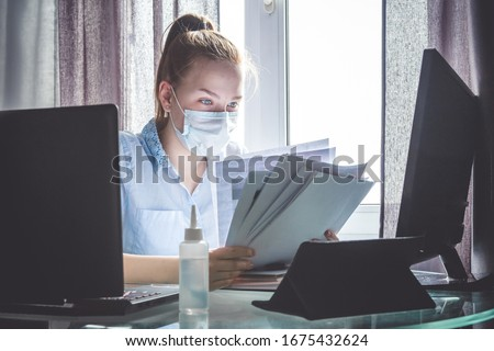 Coronavirus. Quarantine. Online training education and freelance work. Computer, laptop and girl studying remotely. Coronavirus pandemic  in the world. Closing schools #1675432624