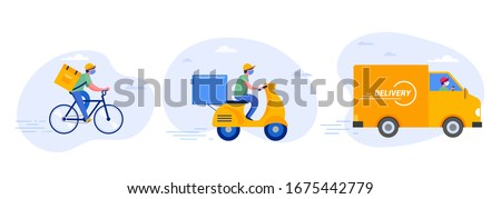 Online delivery service concept, online order tracking, delivery home and office. Warehouse, truck, drone, scooter and bicycle courier, delivery man in respiratory mask. Vector illustration #1675442779