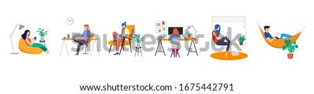 Working at home, coworking space, concept illustration. Young people, man and woman freelancers working on laptops and computers at home. People at home in quarantine. Vector flat style illustration Royalty-Free Stock Photo #1675442791