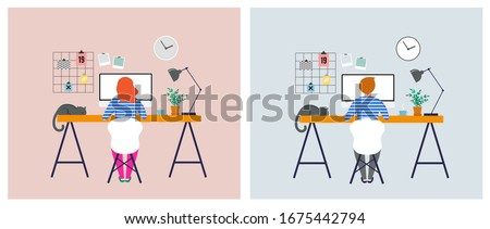 Working at home, coworking space, concept illustration. Young people, man and woman freelancers working on laptops and computers at home. People at home in quarantine. Vector flat style illustration #1675442794