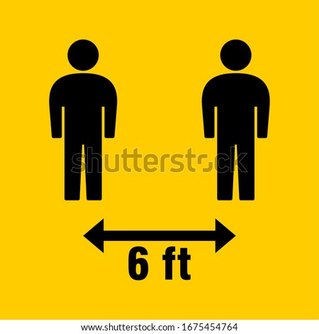 Social Distancing Keep Your Distance 6 Feet Icon. Vector Image. Royalty-Free Stock Photo #1675454764