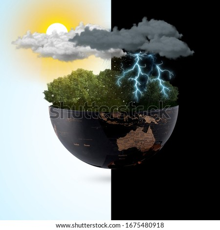 Meteorological day, World Meteorological day, March 23. Greeting card, Icon in the linear style, meteorology presentation, Windy day phenomenon, tree moving from the wind on Blue sky & sunlight Royalty-Free Stock Photo #1675480918