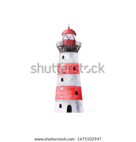 Striped red and white lighthouse - watercolor illustration isolated on white background, hand drawn clipart. Illustration for clothes, stickers, baby shower, greeting cards, prints.