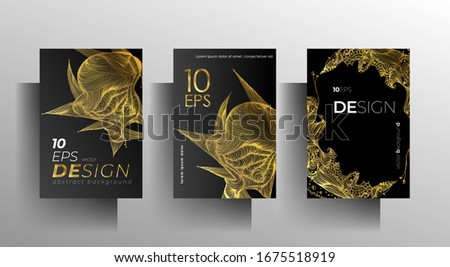 Cover design for book, magazine, brochure catalog template set. Hand-drawn graphic elements black with gold. Vector 10 EPS. #1675518919