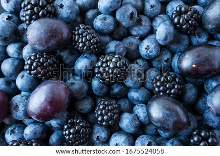 Texture berries close up. Top view. Black and blue berries. Ripe blueberries, blackberries and plums. Various fresh summer fruits. Mix berries. Blue food. Background of berries and fruits. #1675524058