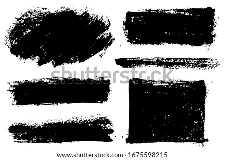 Brush strokes. Vector paintbrushes set. Grunge design elements. Rectangle text boxes, speech bubbles. Dirty distress texture banners. Ink splatters. Grungy painted texture. #1675598215