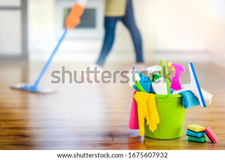 Bucket or basket with cleaning items for wash or house cleaning.  #1675607932