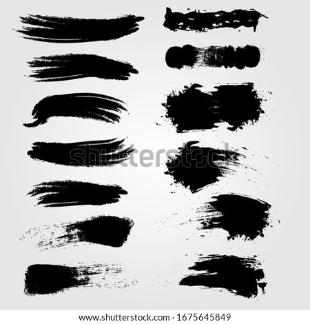 Grunge collection. Vector black brush strokes. Place for text #1675645849
