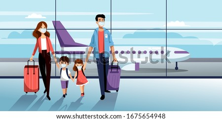 Family with two kids in medical protection masks in airport terminal. Vector illustration. Traveling by airplane during outbreak of coronavirus epidemic. Prevention of seasonal flu disease concept #1675654948