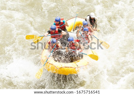 rafting water white team whitewater woman men action extreme partnership of mixed pilgrim men and femininity with guided by specialist pilot on whitewater creek rafting in ecuador rafting water white #1675716541