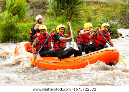 crowd of mixed pioneer human and femininity with guided by specialist pilot on whitewater creek rafting in ecuador boat sport rafting water white team spill rapid hazard summertime nature adventure wa #1675722592