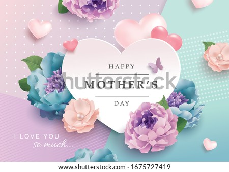 Mother's day greeting card with beautiful blossom flowers background Royalty-Free Stock Photo #1675727419