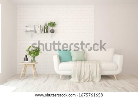 White living room with sofa. Scandinavian interior design. 3D illustration #1675761658