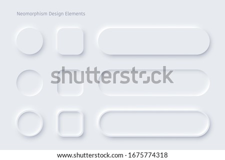 Vector editable neomorphic buttons set. Sliders for  websites, mobile menu, navigation and apps. Simple elegant Neomorphism trendy 2020 designs element UI components isolated on white background Royalty-Free Stock Photo #1675774318