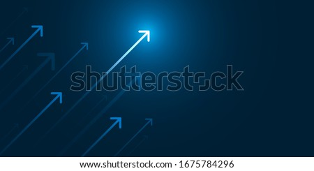 Up light arrow on dark blue background with copy space business growth concept Royalty-Free Stock Photo #1675784296