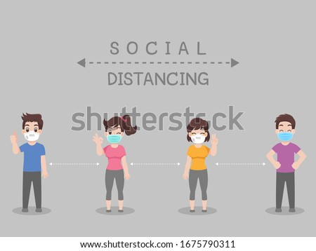 Social Distancing, People keeping distance for infection risk and disease, wearing a surgical protective Medical mask for prevent virus Covid-19. Health care concept. #1675790311
