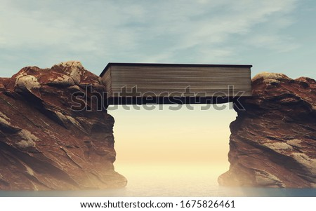 Book between mountains gap.  . Overcome any obstacle with education and self development. Royalty-Free Stock Photo #1675826461
