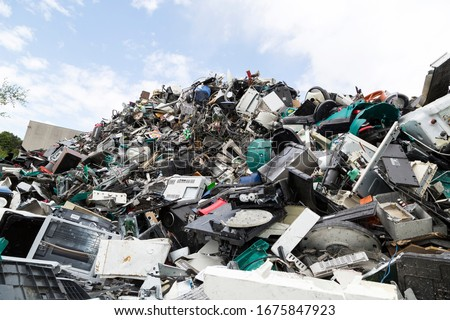 Electronic waste and garbage for recycling Royalty-Free Stock Photo #1675847923