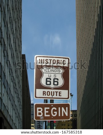 Route 66: An Illinois / US 66 road shield, marking the beginning of historic Route 66, leading through Chicago, Illinois. #167585318
