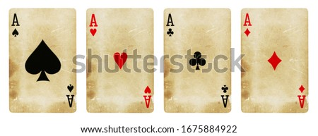Four Aces Vintage Playing Cards - isolated on white Royalty-Free Stock Photo #1675884922