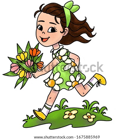 Postcard. Little girl with a bouquet of tulips runs on the green grass.