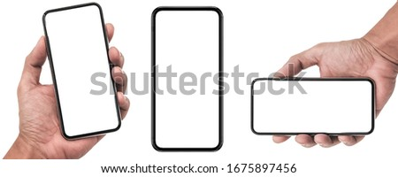 Studio of Smartphone iphone X with blank white screen for Infographic Global Business Marketing investment Plan, mockup model similar to iPhone 11 Pro Max - include clipping pat.