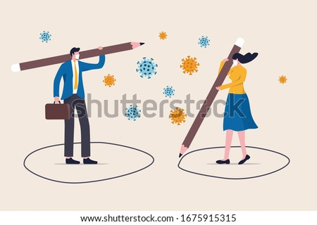 Social distancing, keep distance in public society people to protect from COVID-19 coronavirus outbreak spreading concept, businessman, woman keep distance away by drawing circle with virus pathogens #1675915315