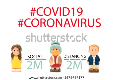 Covid-19 Coronavirus symptom pandemic.Keep social distancing.Man and woman stand with old senior woman.infection control Preventive measures.Steps to protect yourself. Keep the 2 meter distance.