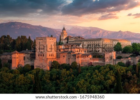 Alhambra fortification at dusk, Granada, Andalusia, Spain #1675948360