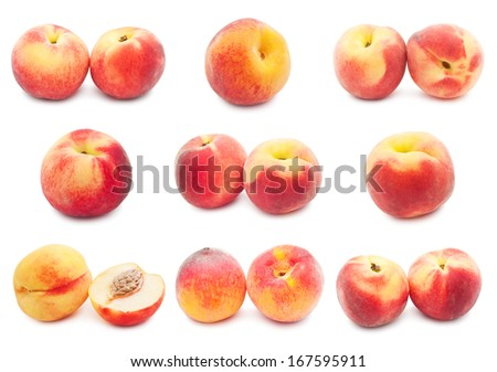 Collection of fresh sweet peaches isolated on white background #167595911