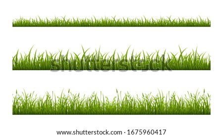 Realistic green grass lawn, border or meadow vector illustration set. Horizontal seamless background Royalty-Free Stock Photo #1675960417