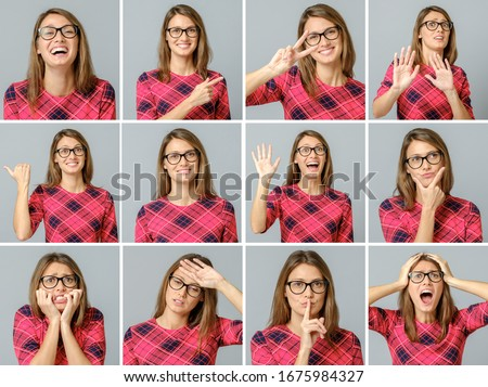 Set of beautiful girl in red dress with different facial expressions isolated