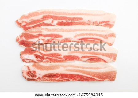 Red pork. Elongated pork belly. Sliced pork belly #1675984915