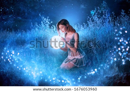 Artwork Fantasy young beautiful woman holds magical ball planet. night nature dark forest. Mystic moon light magic universe outer space. Backdrop Fairy flying bright sparkle stars white fog blue grass #1676053960
