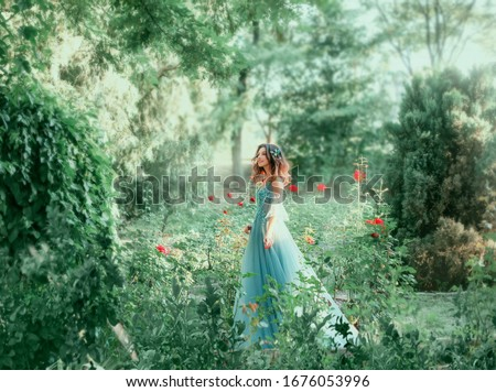 Вrunette girl wavy hair Hairstyle. green fairy forest. Medieval young beautiful woman Princess. blue vintage watercolor fluffy full dress, long train. Backdrop summer nature, garden trees red roses Royalty-Free Stock Photo #1676053996