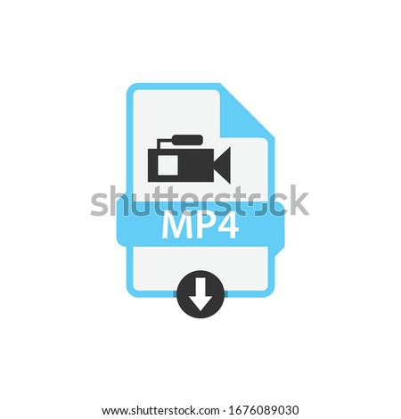 MP4 download video file format vector image. MP4 file icon flat design graphic video vector
